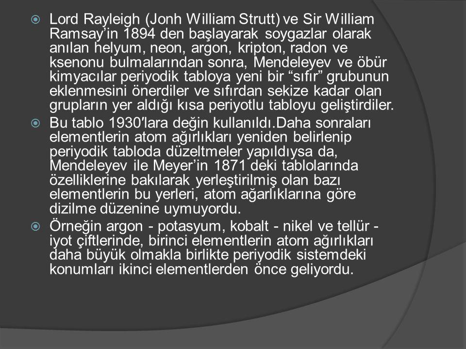  Lord Rayleigh (Jonh William Strutt) ve Sir William Ramsay'in 1894 den başlayarak soygazlar olarak anılan helyum, neon, argon, kripton, radon ve ksen