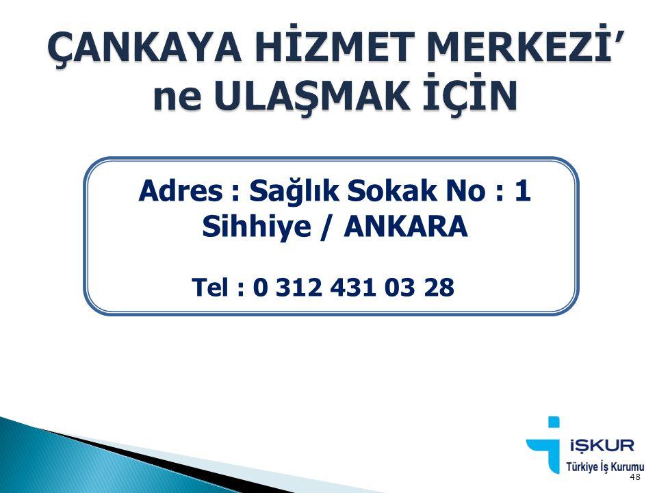 Adres : Sağlık Sokak No : 1 Sihhiye / ANKARA Tel : 0 312 431 03 28 48