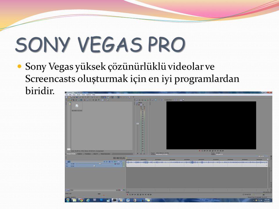 SONY VEGAS PRO Sony Vegas yüksek çözünürlüklü videolar ve Screencasts oluşturmak için en iyi programlardan biridir.