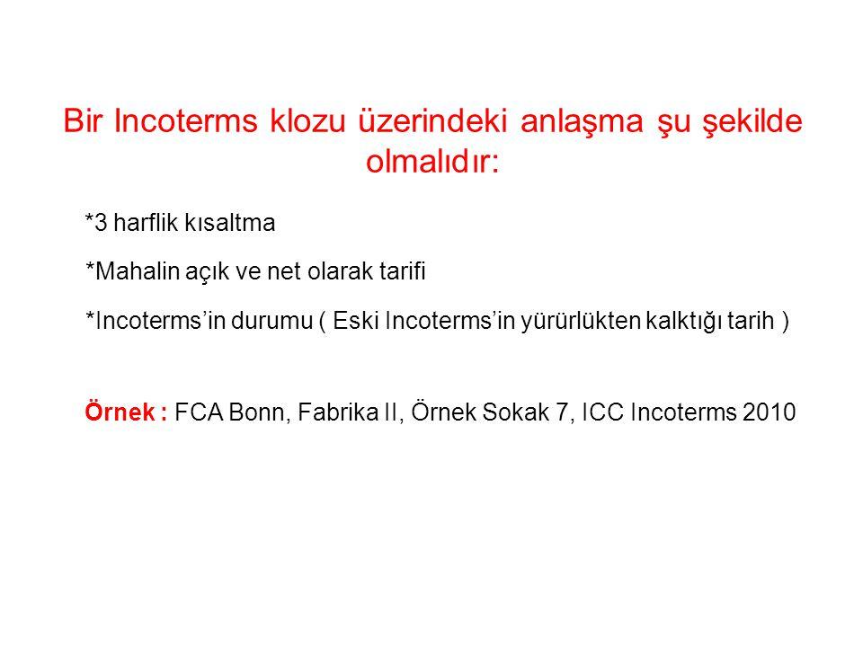 Bir Incoterms klozu üzerindeki anlaşma şu şekilde olmalıdır: *3 harflik kısaltma *Mahalin açık ve net olarak tarifi *Incoterms'in durumu ( Eski Incoterms'in yürürlükten kalktığı tarih ) Örnek : FCA Bonn, Fabrika II, Örnek Sokak 7, ICC Incoterms 2010