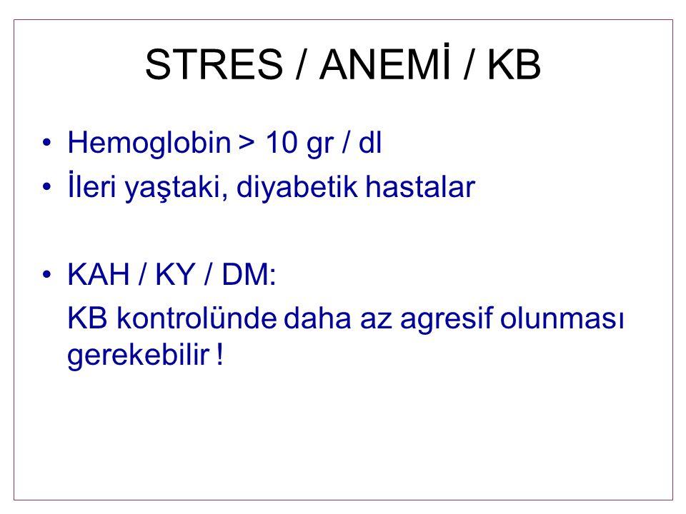 STRES / ANEMİ / KB Hemoglobin > 10 gr / dl İleri yaştaki, diyabetik hastalar KAH / KY / DM: KB kontrolünde daha az agresif olunması gerekebilir !