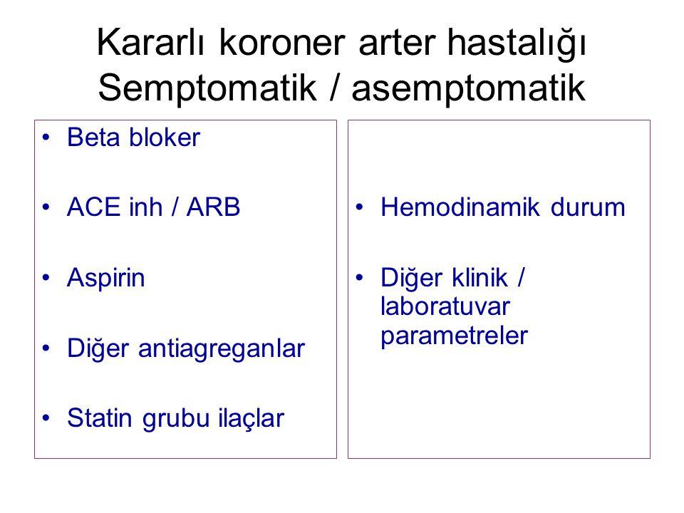 Kararlı koroner arter hastalığı Semptomatik / asemptomatik Beta bloker ACE inh / ARB Aspirin Diğer antiagreganlar Statin grubu ilaçlar Hemodinamik durum Diğer klinik / laboratuvar parametreler
