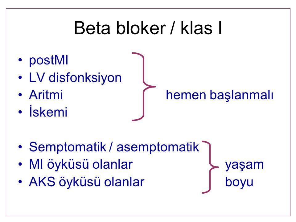 Beta bloker / klas I postMI LV disfonksiyon Aritmihemen başlanmalı İskemi Semptomatik / asemptomatik MI öyküsü olanlaryaşam AKS öyküsü olanlarboyu