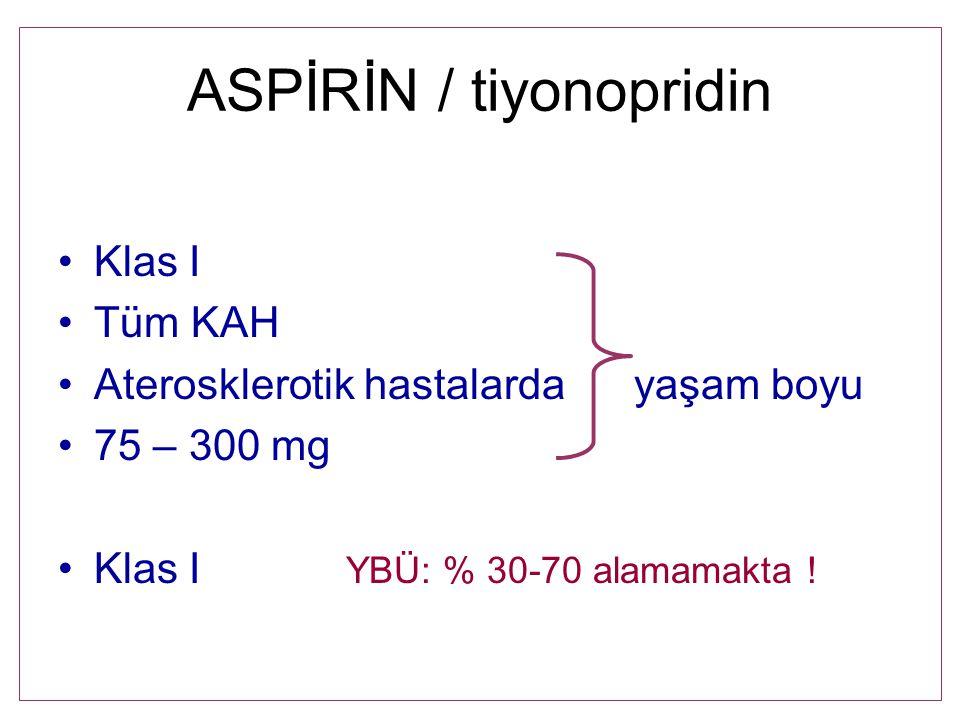ASPİRİN / tiyonopridin Klas I Tüm KAH Aterosklerotik hastalardayaşam boyu 75 – 300 mg Klas I YBÜ: % 30-70 alamamakta !