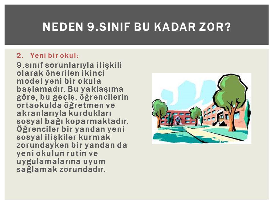2.Yeni bir okul: 9.sınıf sorunlarıyla ilişkili olarak önerilen ikinci model yeni bir okula başlamadır.
