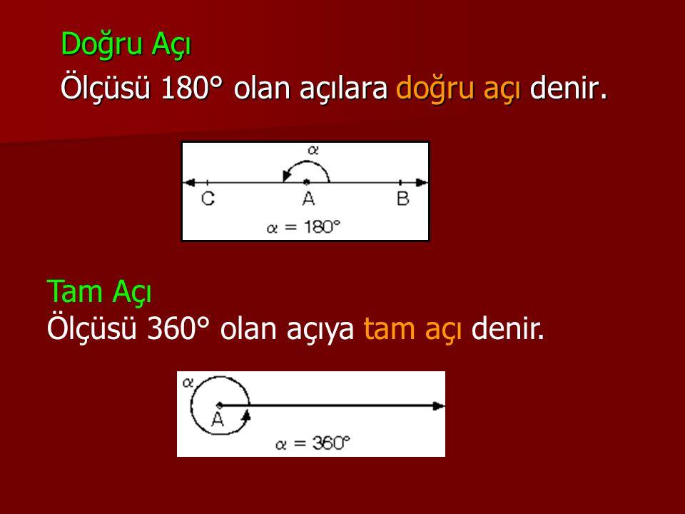 Doğru Açı Doğru Açı Ölçüsü 180° olan açılara doğru açı denir. Ölçüsü 180° olan açılara doğru açı denir. Tam Açı Ölçüsü 360° olan açıya tam açı denir.