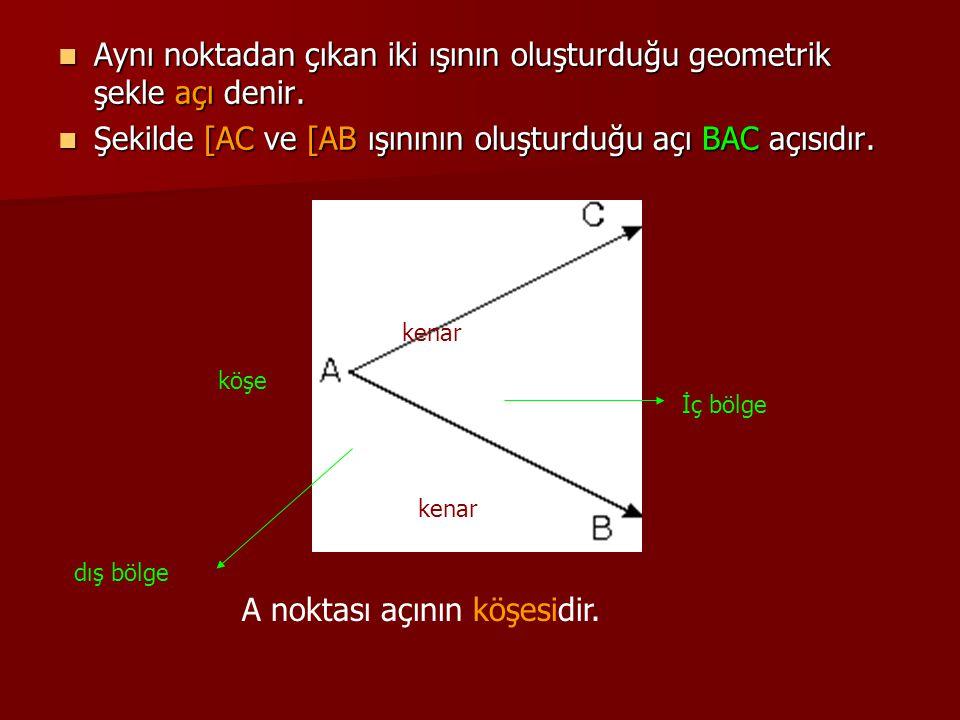 Aynı noktadan çıkan iki ışının oluşturduğu geometrik şekle açı denir. Aynı noktadan çıkan iki ışının oluşturduğu geometrik şekle açı denir. Şekilde [A