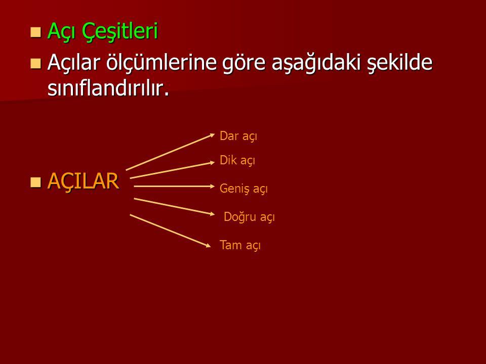 Açı Çeşitleri Açı Çeşitleri Açılar ölçümlerine göre aşağıdaki şekilde sınıflandırılır. Açılar ölçümlerine göre aşağıdaki şekilde sınıflandırılır. AÇIL