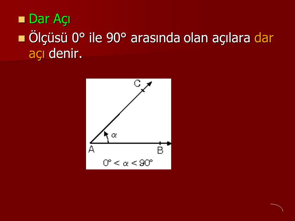 Dar Açı Dar Açı Ölçüsü 0° ile 90° arasında olan açılara dar açı denir. Ölçüsü 0° ile 90° arasında olan açılara dar açı denir.