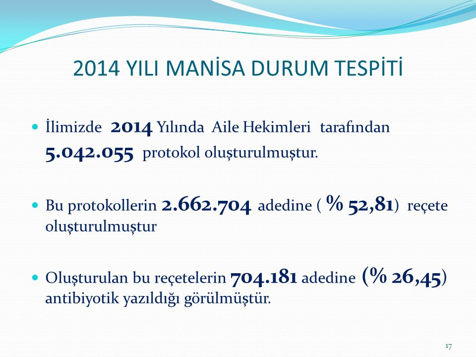 2014 YILI MANİSA DURUM TESPİTİ İlimizde 2014 Yılında Aile Hekimleri tarafından 5.042.055 protokol oluşturulmuştur.