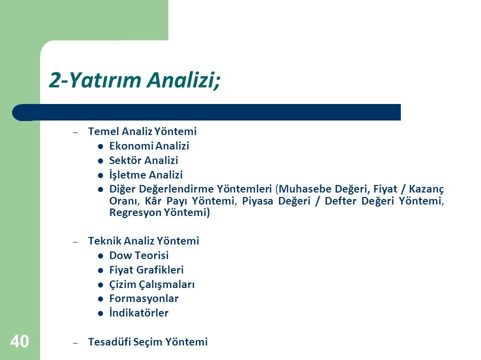 40 2-Yatırım Analizi; – Temel Analiz Yöntemi Ekonomi Analizi Sektör Analizi İşletme Analizi Diğer Değerlendirme Yöntemleri (Muhasebe Değeri, Fiyat / K