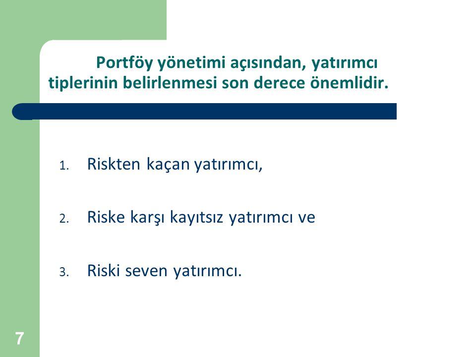 7 Portföy yönetimi açısından, yatırımcı tiplerinin belirlenmesi son derece önemlidir. 1. Riskten kaçan yatırımcı, 2. Riske karşı kayıtsız yatırımcı ve