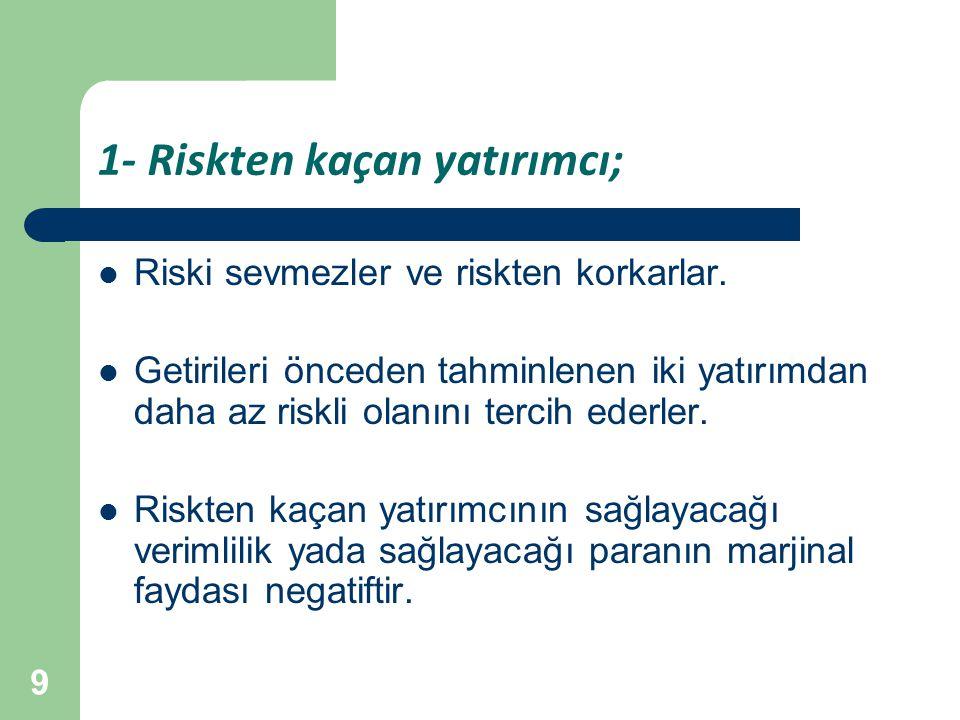 9 1- Riskten kaçan yatırımcı; Riski sevmezler ve riskten korkarlar. Getirileri önceden tahminlenen iki yatırımdan daha az riskli olanını tercih ederle
