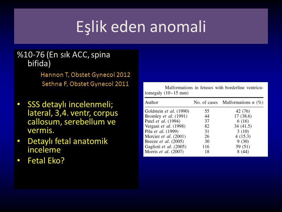 Eşlik eden anomali %10-76 (En sık ACC, spina bifida) Hannon T, Obstet Gynecol 2012 Sethna F, Obstet Gynecol 2011 SSS detaylı incelenmeli; lateral, 3,4