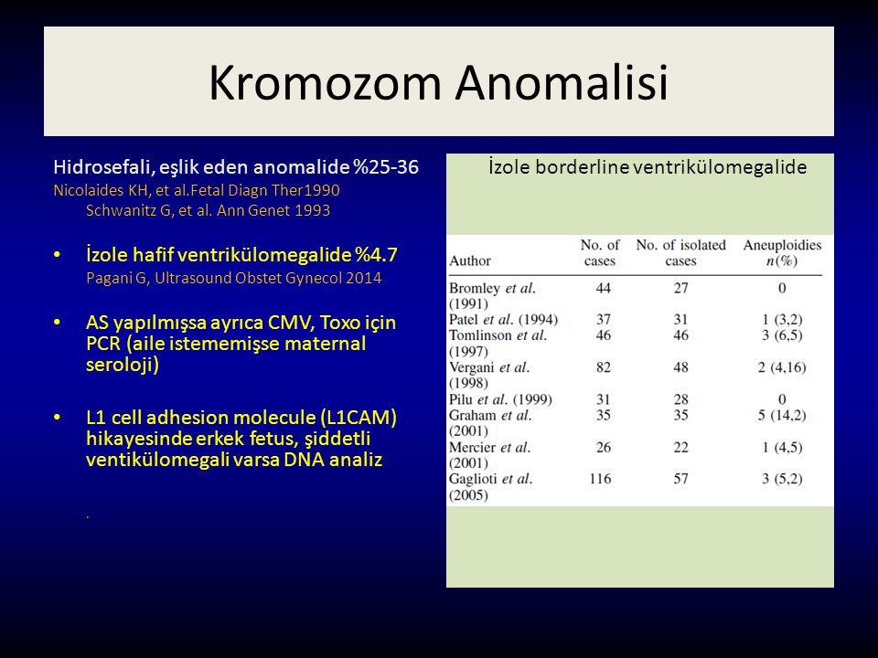 Kromozom Anomalisi Hidrosefali, eşlik eden anomalide %25-36 Nicolaides KH, et al.Fetal Diagn Ther1990 Schwanitz G, et al. Ann Genet 1993 İzole hafif v