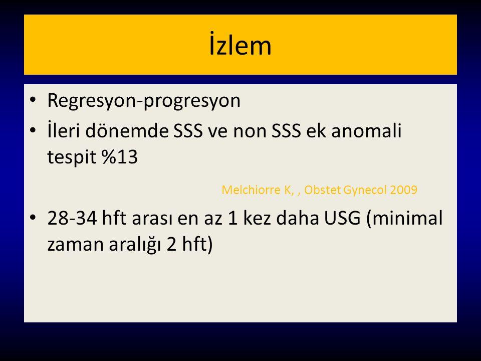 İzlem Regresyon-progresyon İleri dönemde SSS ve non SSS ek anomali tespit %13 Melchiorre K,, Obstet Gynecol 2009 28-34 hft arası en az 1 kez daha USG