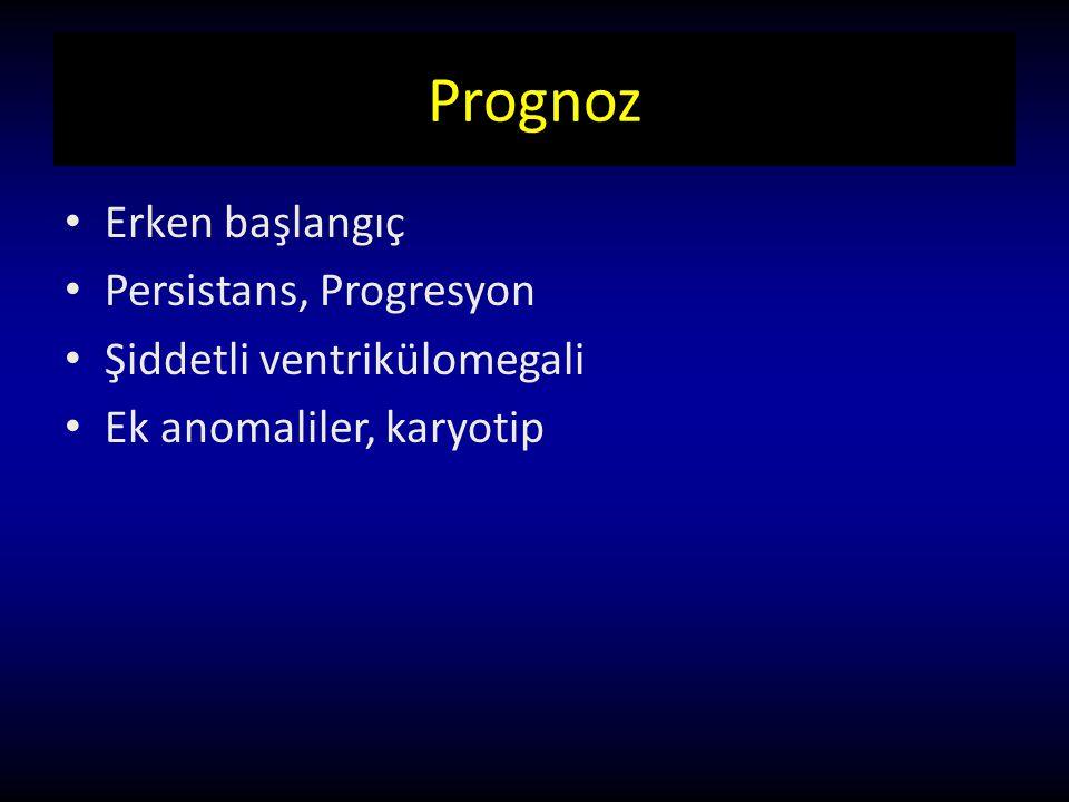 Prognoz Erken başlangıç Persistans, Progresyon Şiddetli ventrikülomegali Ek anomaliler, karyotip