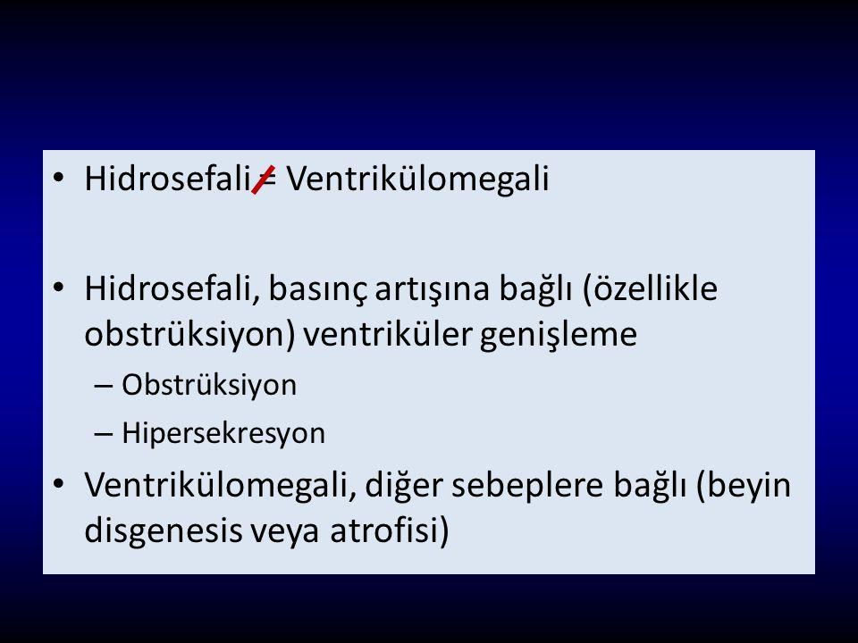 Hidrosefali = Ventrikülomegali Hidrosefali, basınç artışına bağlı (özellikle obstrüksiyon) ventriküler genişleme – Obstrüksiyon – Hipersekresyon Ventr