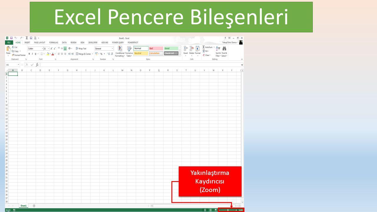 Excel Pencere Bileşenleri Yakınlaştırma Kaydırıcısı (Zoom) Yakınlaştırma Kaydırıcısı (Zoom)