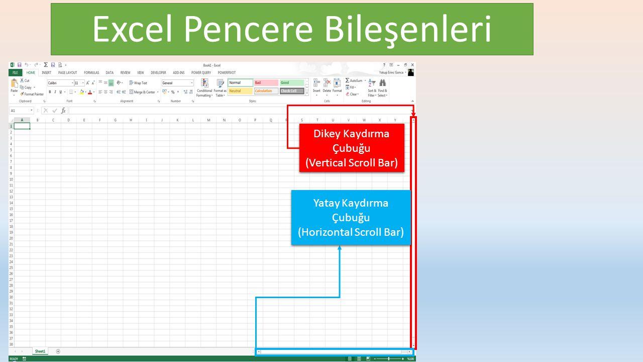 Excel Pencere Bileşenleri Dikey Kaydırma Çubuğu (Vertical Scroll Bar) Dikey Kaydırma Çubuğu (Vertical Scroll Bar) Yatay Kaydırma Çubuğu (Horizontal Scroll Bar) Yatay Kaydırma Çubuğu (Horizontal Scroll Bar)