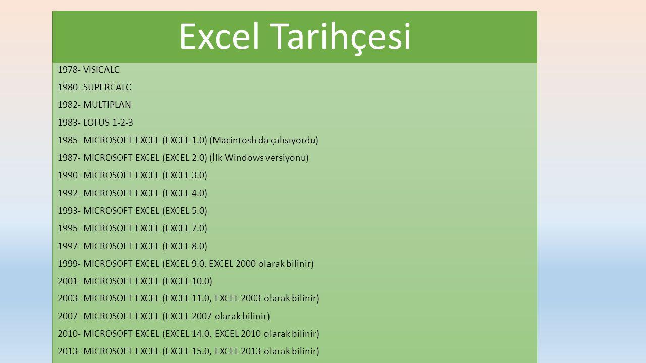 Excel Tarihçesi 1978- VISICALC 1980- SUPERCALC 1982- MULTIPLAN 1983- LOTUS 1-2-3 1985- MICROSOFT EXCEL (EXCEL 1.0) (Macintosh da çalışıyordu) 1987- MICROSOFT EXCEL (EXCEL 2.0) (İlk Windows versiyonu) 1990- MICROSOFT EXCEL (EXCEL 3.0) 1992- MICROSOFT EXCEL (EXCEL 4.0) 1993- MICROSOFT EXCEL (EXCEL 5.0) 1995- MICROSOFT EXCEL (EXCEL 7.0) 1997- MICROSOFT EXCEL (EXCEL 8.0) 1999- MICROSOFT EXCEL (EXCEL 9.0, EXCEL 2000 olarak bilinir) 2001- MICROSOFT EXCEL (EXCEL 10.0) 2003- MICROSOFT EXCEL (EXCEL 11.0, EXCEL 2003 olarak bilinir) 2007- MICROSOFT EXCEL (EXCEL 2007 olarak bilinir) 2010- MICROSOFT EXCEL (EXCEL 14.0, EXCEL 2010 olarak bilinir) 2013- MICROSOFT EXCEL (EXCEL 15.0, EXCEL 2013 olarak bilinir)