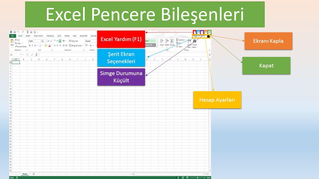 Excel Pencere Bileşenleri Excel Yardım (F1) Şerit Ekran Seçenekleri Simge Durumuna Küçült Ekranı Kapla Kapat Hesap Ayarları