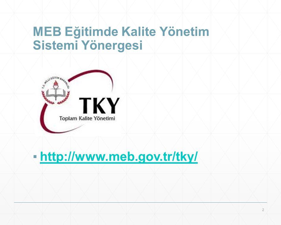 MEB Eğitimde Kalite Yönetim Sistemi Yönergesi ▪http://www.meb.gov.tr/tky/http://www.meb.gov.tr/tky/ 2