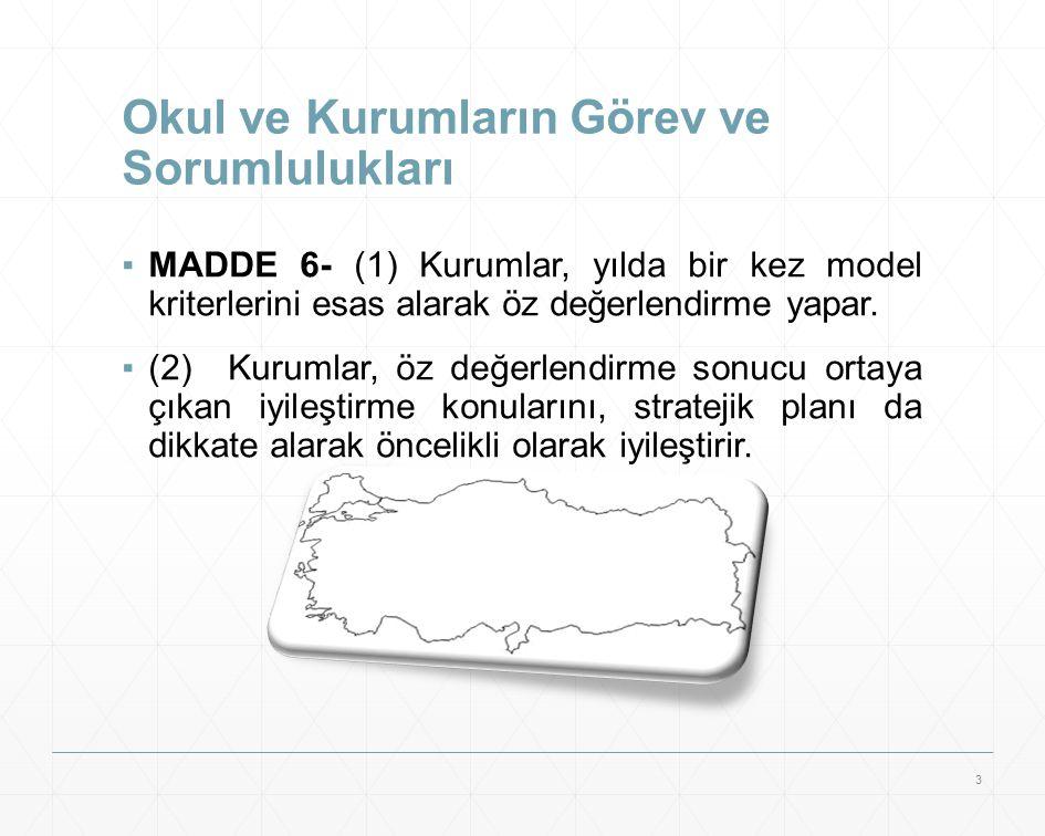 Okul ve Kurumların Görev ve Sorumlulukları ▪MADDE 6- (1) Kurumlar, yılda bir kez model kriterlerini esas alarak öz değerlendirme yapar. ▪(2)Kurumlar,