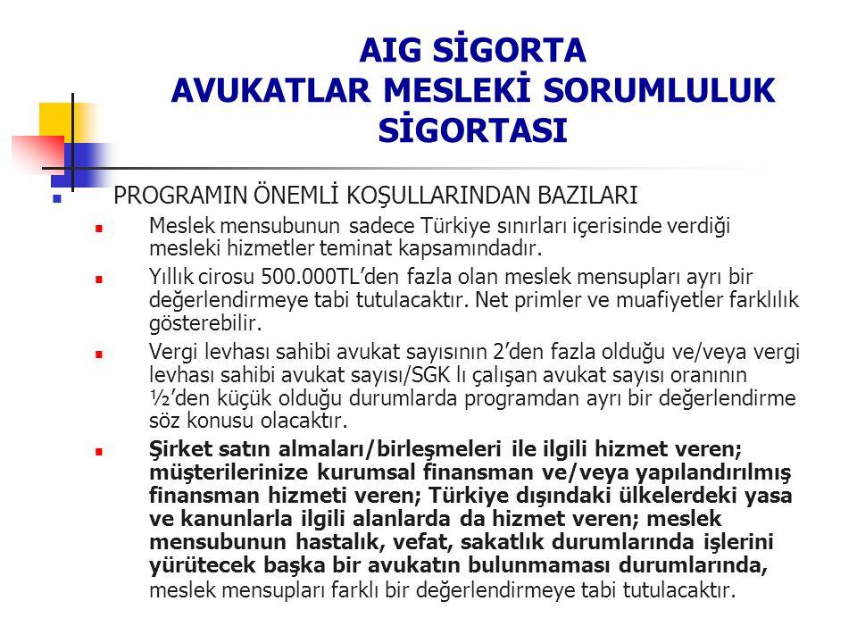 AIG SİGORTA AVUKATLAR MESLEKİ SORUMLULUK SİGORTASI PROGRAMIN ÖNEMLİ KOŞULLARINDAN BAZILARI Meslek mensubunun sadece Türkiye sınırları içerisinde verdi