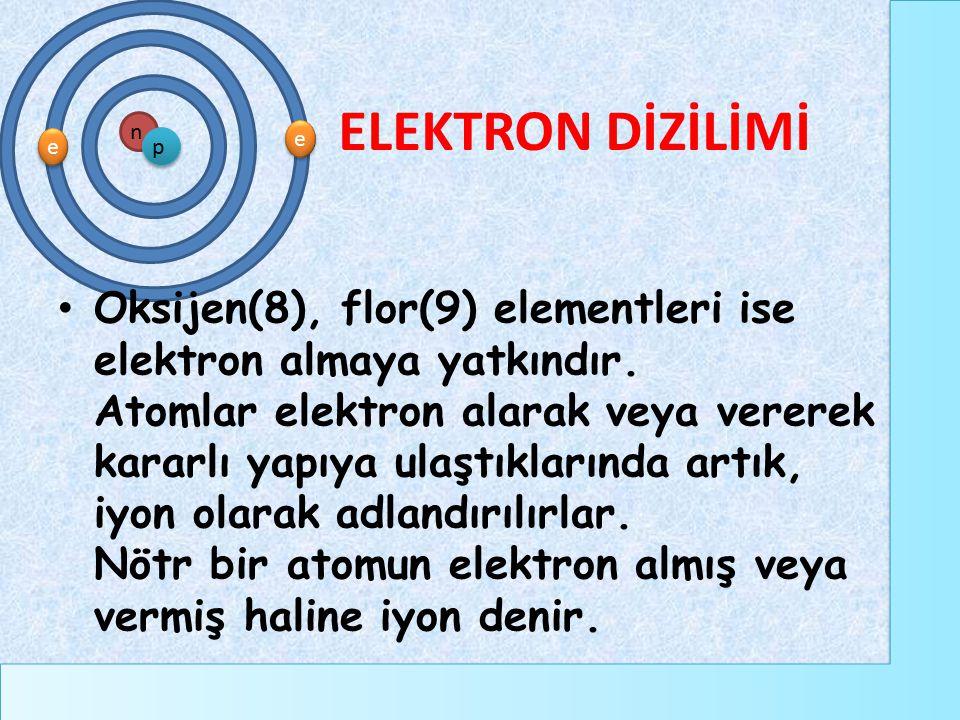 e e e e n p ELEKTRON DİZİLİMİ Oksijen(8), flor(9) elementleri ise elektron almaya yatkındır. Atomlar elektron alarak veya vererek kararlı yapıya ulaşt