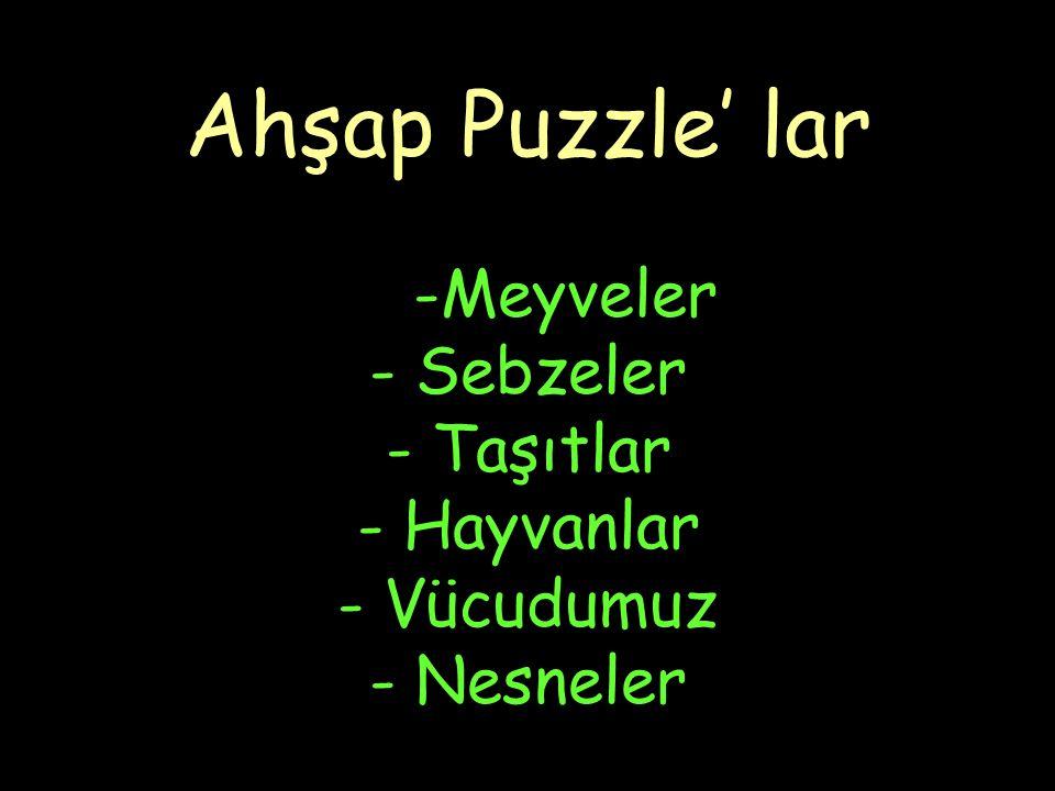 Ahşap Puzzle' lar -Meyveler - Sebzeler - Taşıtlar - Hayvanlar - Vücudumuz - Nesneler