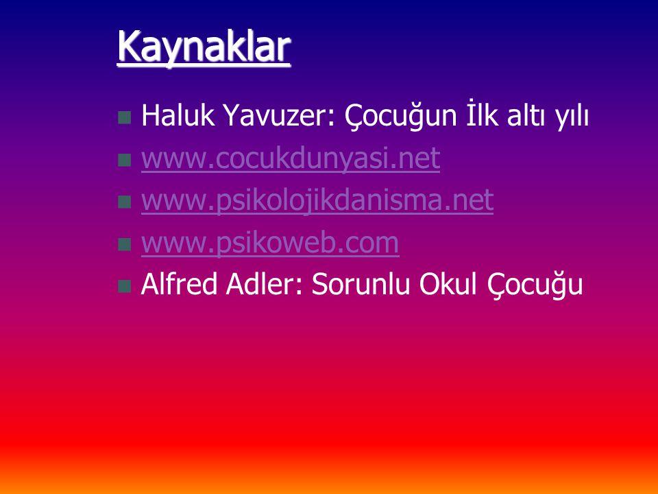 Kaynaklar Haluk Yavuzer: Çocuğun İlk altı yılı www.cocukdunyasi.net www.psikolojikdanisma.net www.psikoweb.com Alfred Adler: Sorunlu Okul Çocuğu
