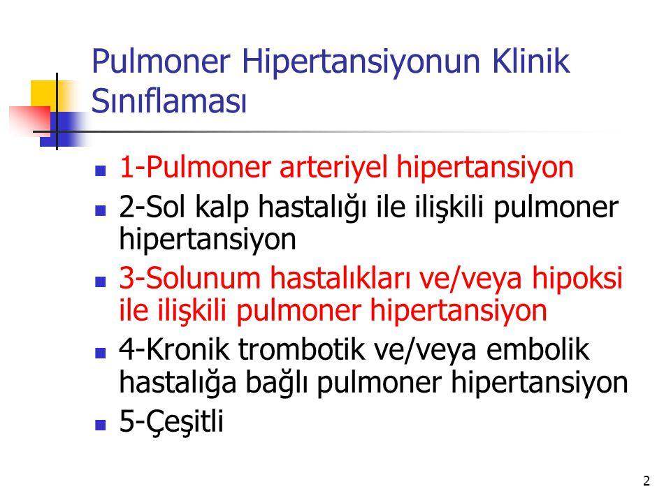 2 Pulmoner Hipertansiyonun Klinik Sınıflaması 1-Pulmoner arteriyel hipertansiyon 2-Sol kalp hastalığı ile ilişkili pulmoner hipertansiyon 3-Solunum hastalıkları ve/veya hipoksi ile ilişkili pulmoner hipertansiyon 4-Kronik trombotik ve/veya embolik hastalığa bağlı pulmoner hipertansiyon 5-Çeşitli