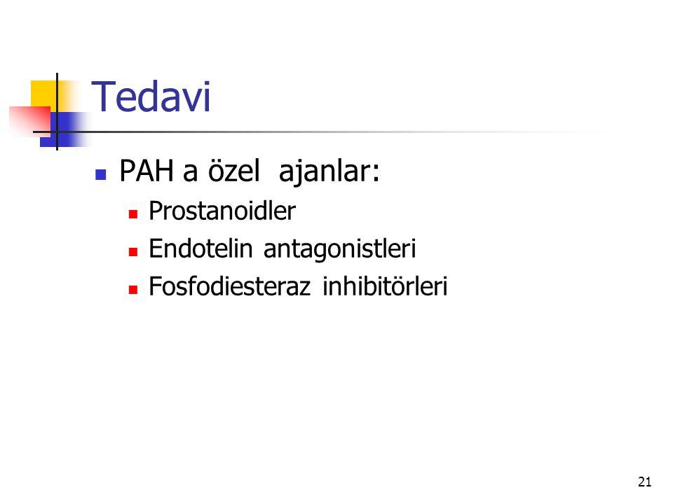21 Tedavi PAH a özel ajanlar: Prostanoidler Endotelin antagonistleri Fosfodiesteraz inhibitörleri