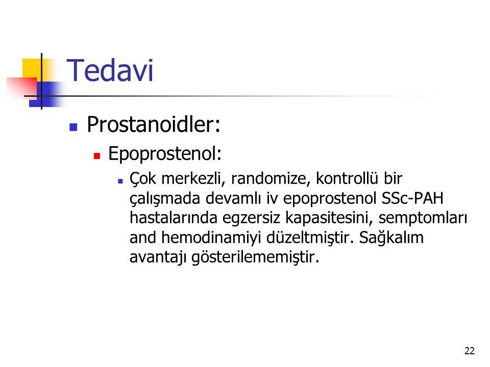22 Tedavi Prostanoidler: Epoprostenol: Çok merkezli, randomize, kontrollü bir çalışmada devamlı iv epoprostenol SSc-PAH hastalarında egzersiz kapasitesini, semptomları and hemodinamiyi düzeltmiştir.