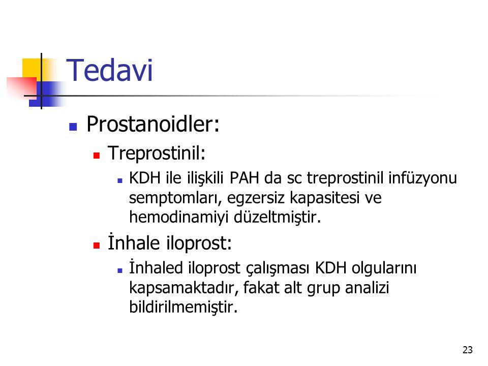 23 Tedavi Prostanoidler: Treprostinil: KDH ile ilişkili PAH da sc treprostinil infüzyonu semptomları, egzersiz kapasitesi ve hemodinamiyi düzeltmiştir.