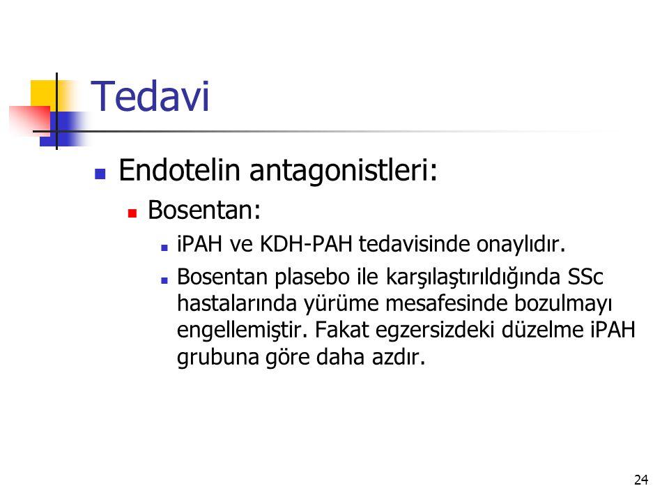 24 Tedavi Endotelin antagonistleri: Bosentan: iPAH ve KDH-PAH tedavisinde onaylıdır.