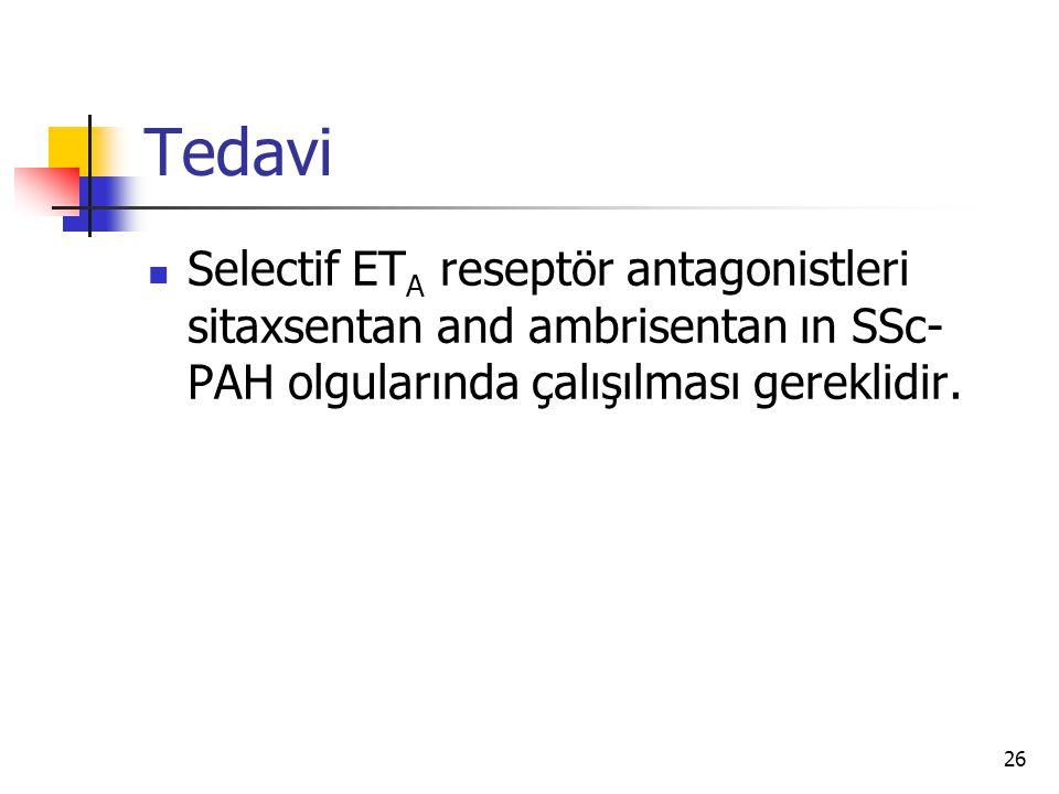 26 Tedavi Selectif ET A reseptör antagonistleri sitaxsentan and ambrisentan ın SSc- PAH olgularında çalışılması gereklidir.