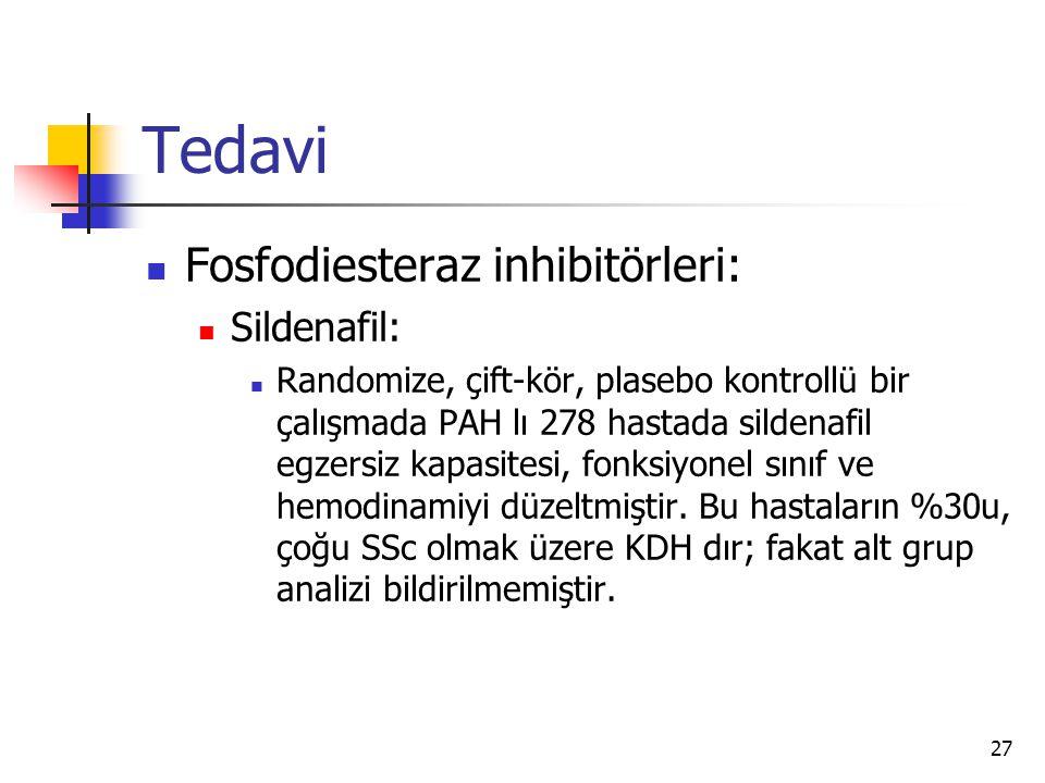 27 Tedavi Fosfodiesteraz inhibitörleri: Sildenafil: Randomize, çift-kör, plasebo kontrollü bir çalışmada PAH lı 278 hastada sildenafil egzersiz kapasitesi, fonksiyonel sınıf ve hemodinamiyi düzeltmiştir.