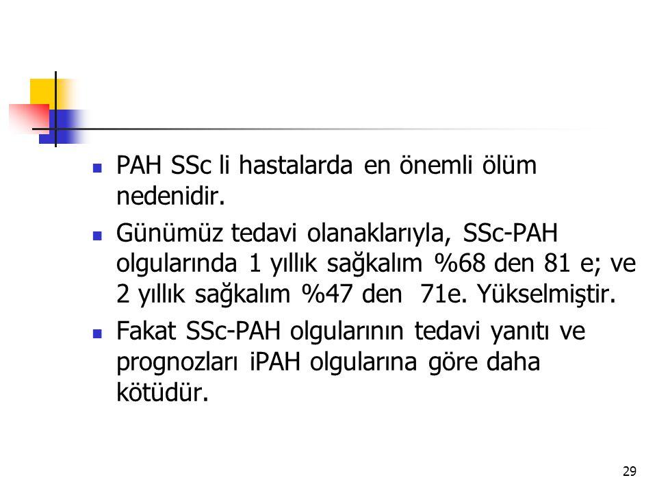 29 PAH SSc li hastalarda en önemli ölüm nedenidir.