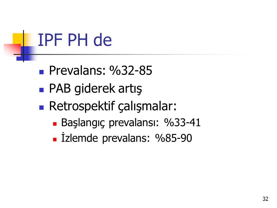 32 IPF PH de Prevalans: %32-85 PAB giderek artış Retrospektif çalışmalar: Başlangıç prevalansı: %33-41 İzlemde prevalans: %85-90