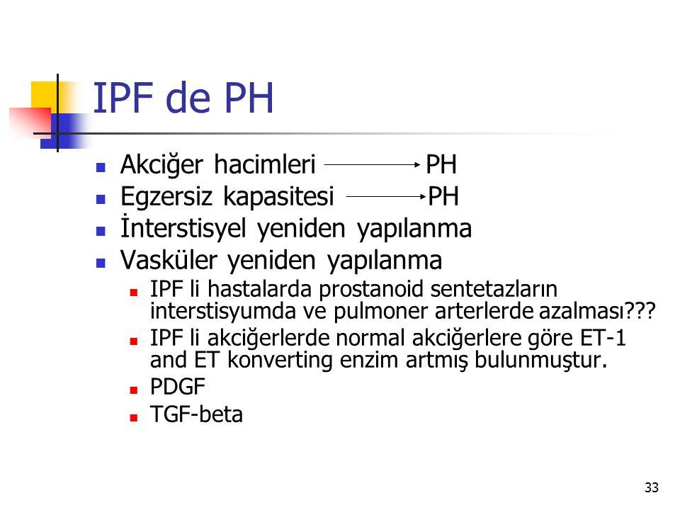 33 IPF de PH Akciğer hacimleri PH Egzersiz kapasitesi PH İnterstisyel yeniden yapılanma Vasküler yeniden yapılanma IPF li hastalarda prostanoid sentetazların interstisyumda ve pulmoner arterlerde azalması??.