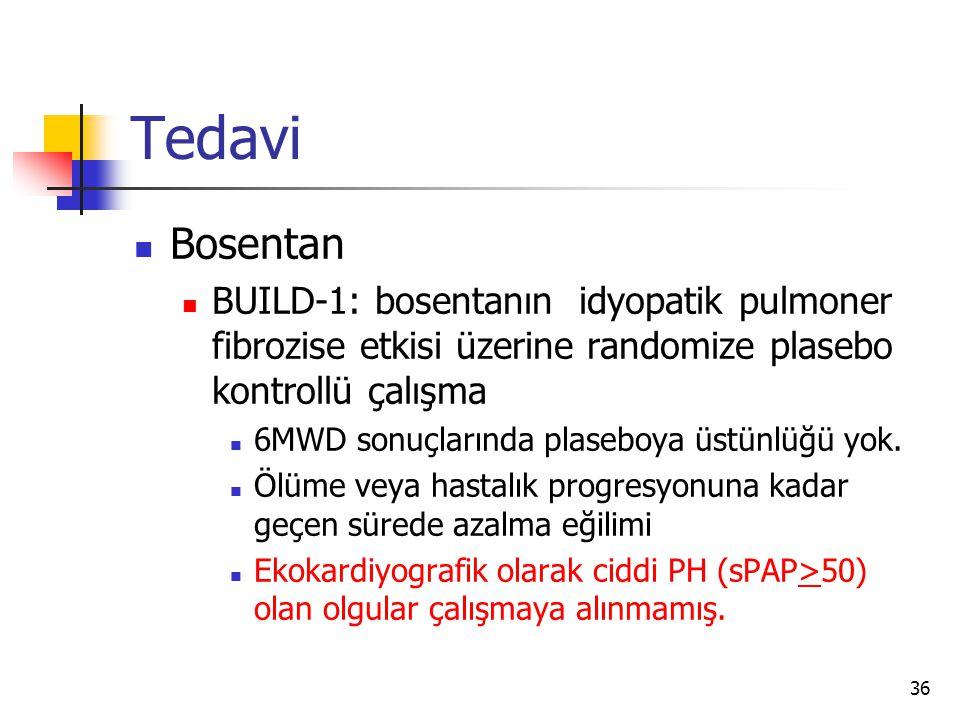 36 Tedavi Bosentan BUILD-1: bosentanın idyopatik pulmoner fibrozise etkisi üzerine randomize plasebo kontrollü çalışma 6MWD sonuçlarında plaseboya üstünlüğü yok.