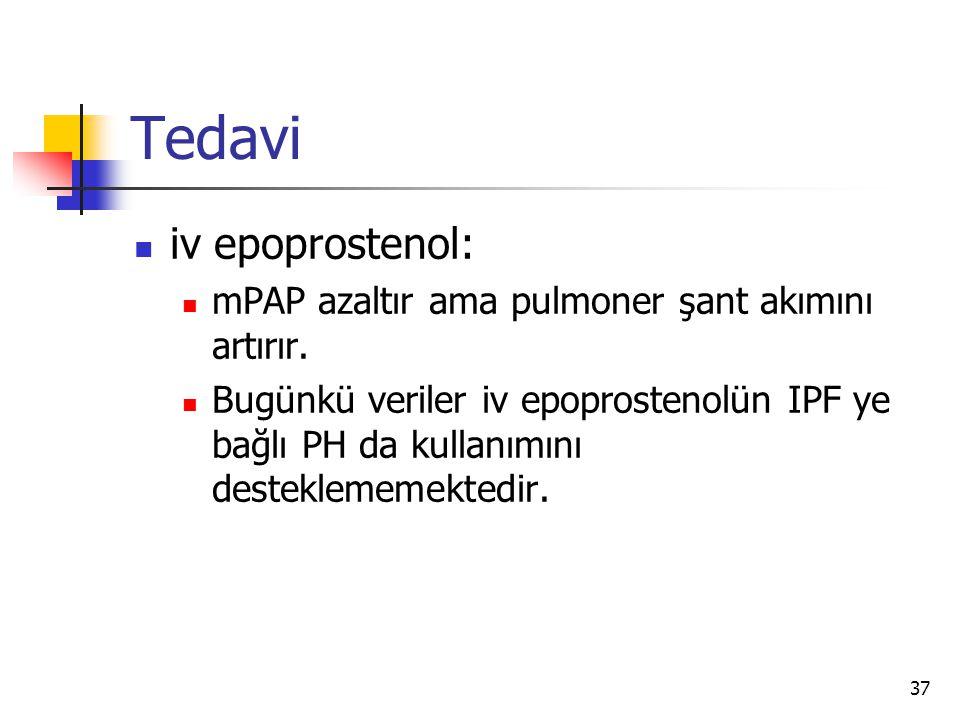 37 Tedavi iv epoprostenol: mPAP azaltır ama pulmoner şant akımını artırır.