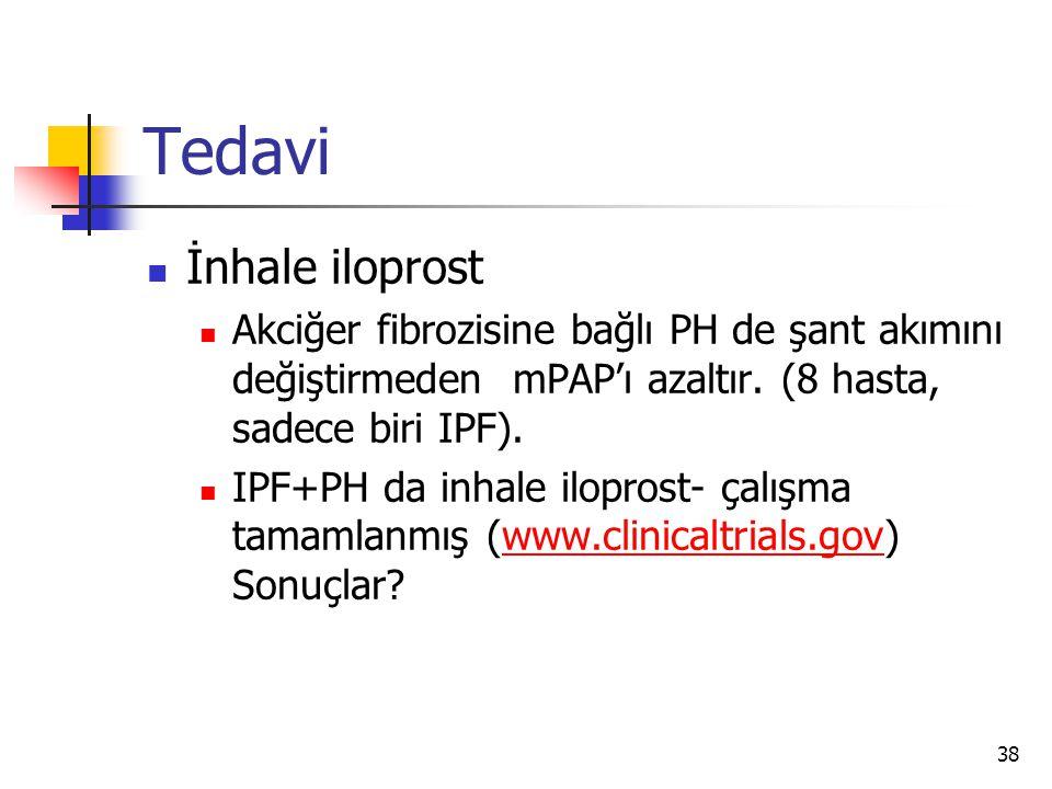 38 Tedavi İnhale iloprost Akciğer fibrozisine bağlı PH de şant akımını değiştirmeden mPAP'ı azaltır.