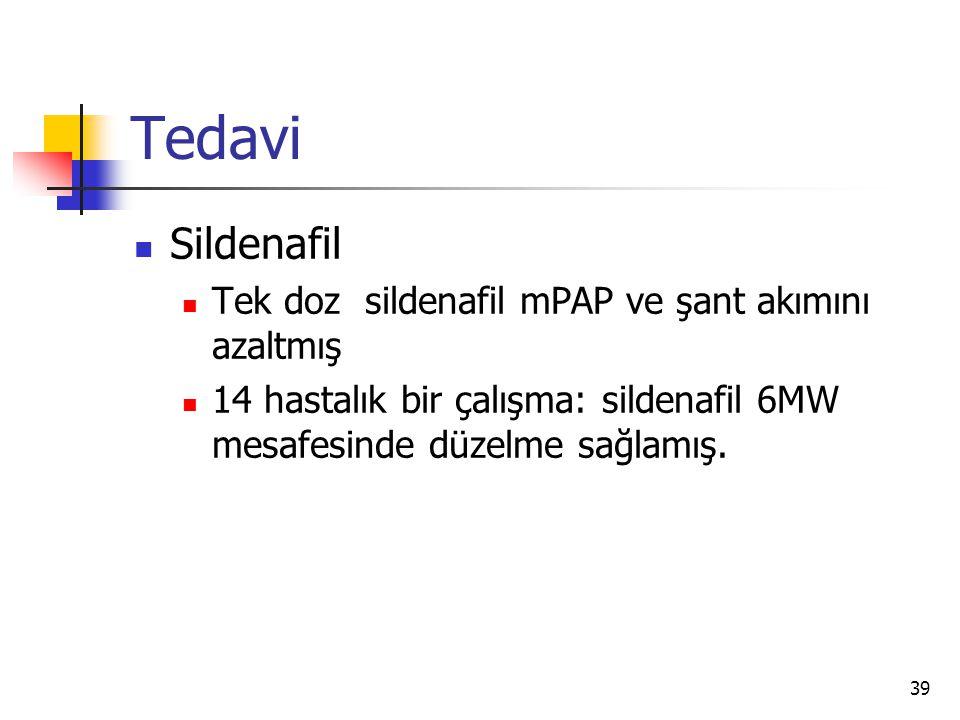 39 Tedavi Sildenafil Tek doz sildenafil mPAP ve şant akımını azaltmış 14 hastalık bir çalışma: sildenafil 6MW mesafesinde düzelme sağlamış.