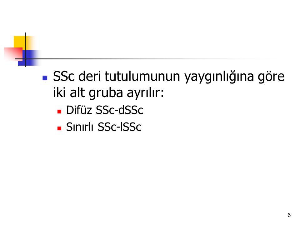 6 SSc deri tutulumunun yaygınlığına göre iki alt gruba ayrılır: Difüz SSc-dSSc Sınırlı SSc-lSSc