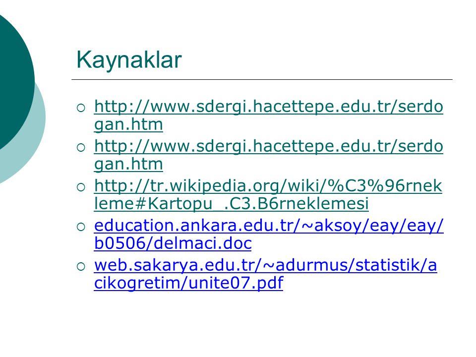 Kaynaklar  http://www.sdergi.hacettepe.edu.tr/serdo gan.htm http://www.sdergi.hacettepe.edu.tr/serdo gan.htm  http://www.sdergi.hacettepe.edu.tr/ser