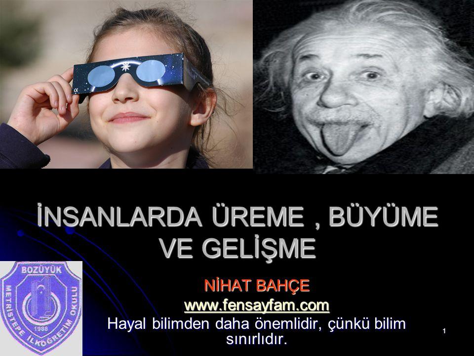30.07.20151 İNSANLARDA ÜREME, BÜYÜME VE GELİŞME NİHAT BAHÇE www.fensayfam.com Hayal bilimden daha önemlidir, çünkü bilim sınırlıdır.