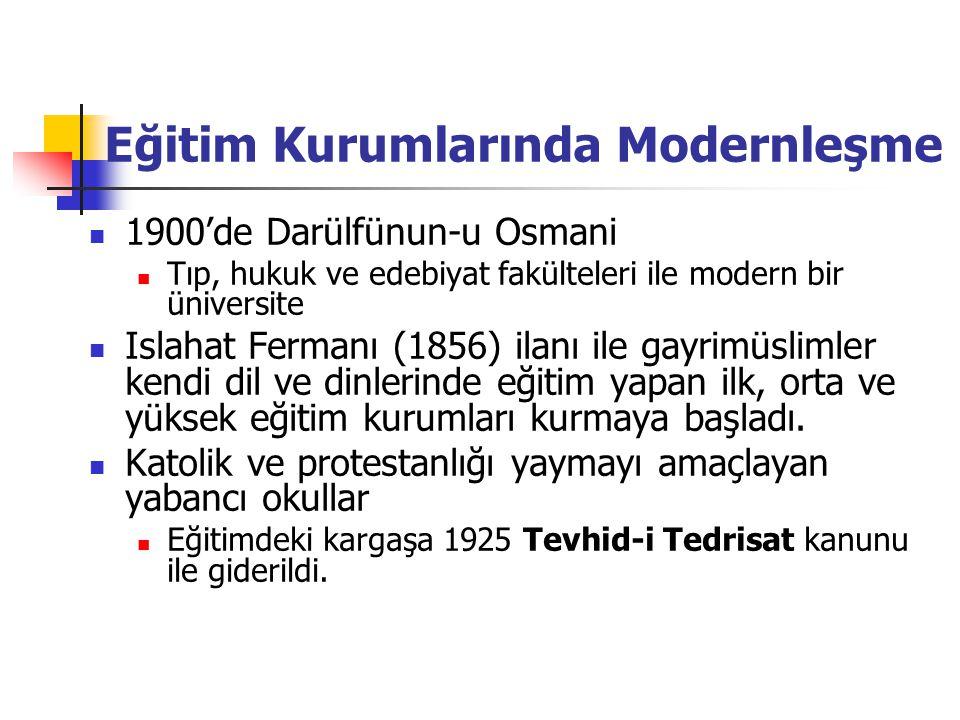 Eğitim Kurumlarında Modernleşme 1900'de Darülfünun-u Osmani Tıp, hukuk ve edebiyat fakülteleri ile modern bir üniversite Islahat Fermanı (1856) ilanı ile gayrimüslimler kendi dil ve dinlerinde eğitim yapan ilk, orta ve yüksek eğitim kurumları kurmaya başladı.